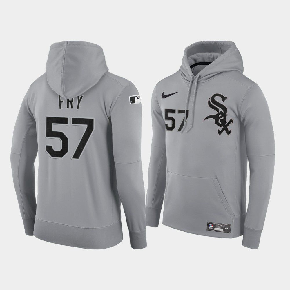 Cheap Men Chicago White Sox 57 Fry gray road hoodie 2021 MLB Nike Jerseys