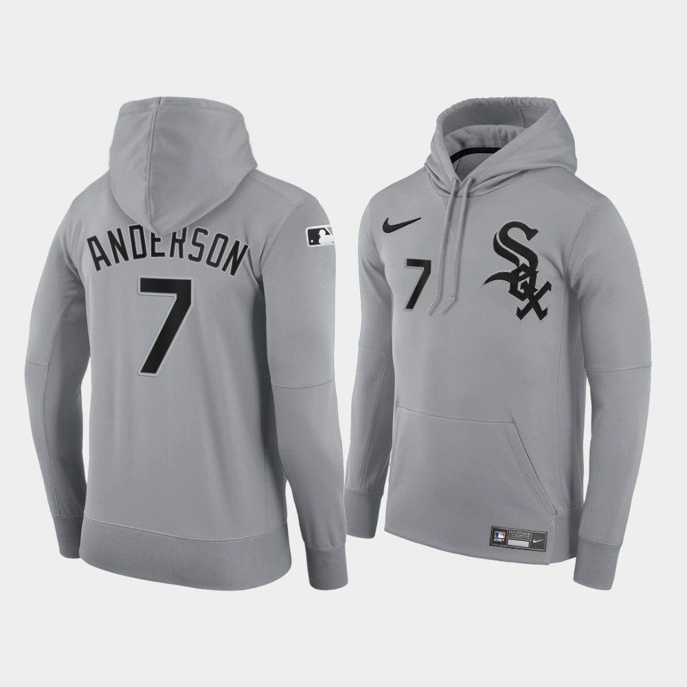 Cheap Men Chicago White Sox 7 Anderson gray road hoodie 2021 MLB Nike Jerseys