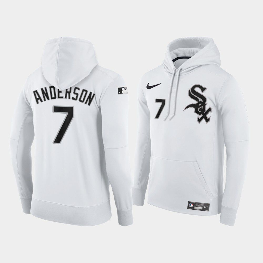 Cheap Men Chicago White Sox 7 Anderson white home hoodie 2021 MLB Nike Jerseys