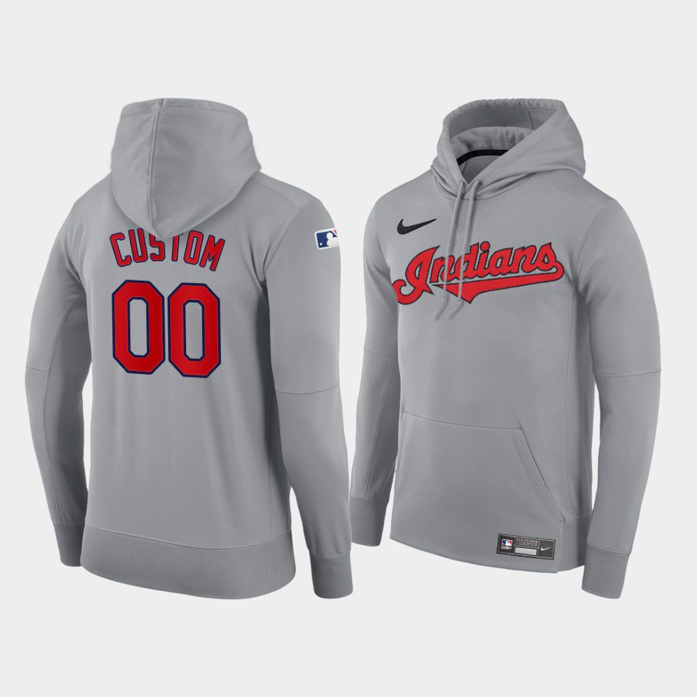 Cheap Men Cleveland Indians 00 Custom gray road hoodie 2021 MLB Nike Jerseys