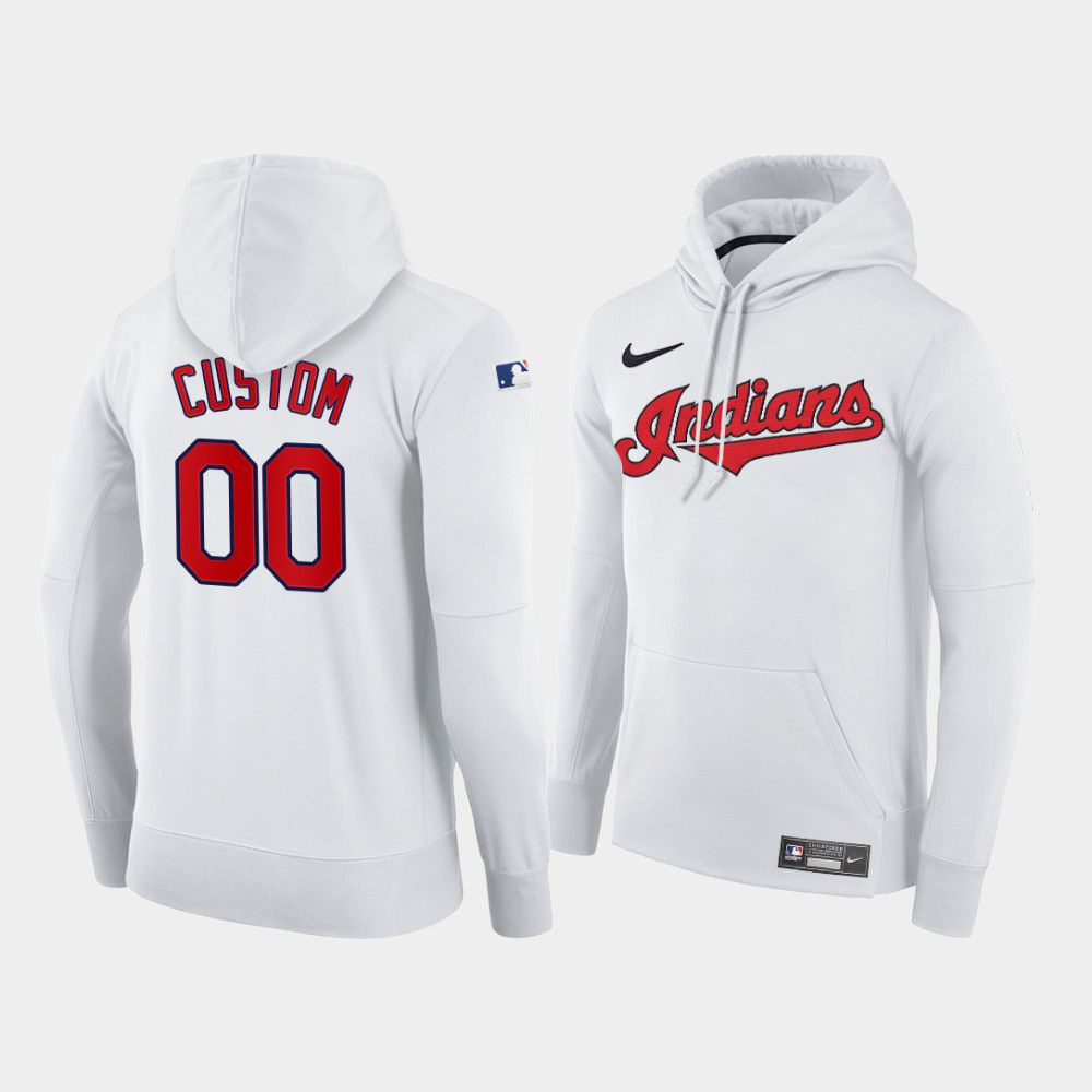 Cheap Men Cleveland Indians 00 Custom white home hoodie 2021 MLB Nike Jerseys