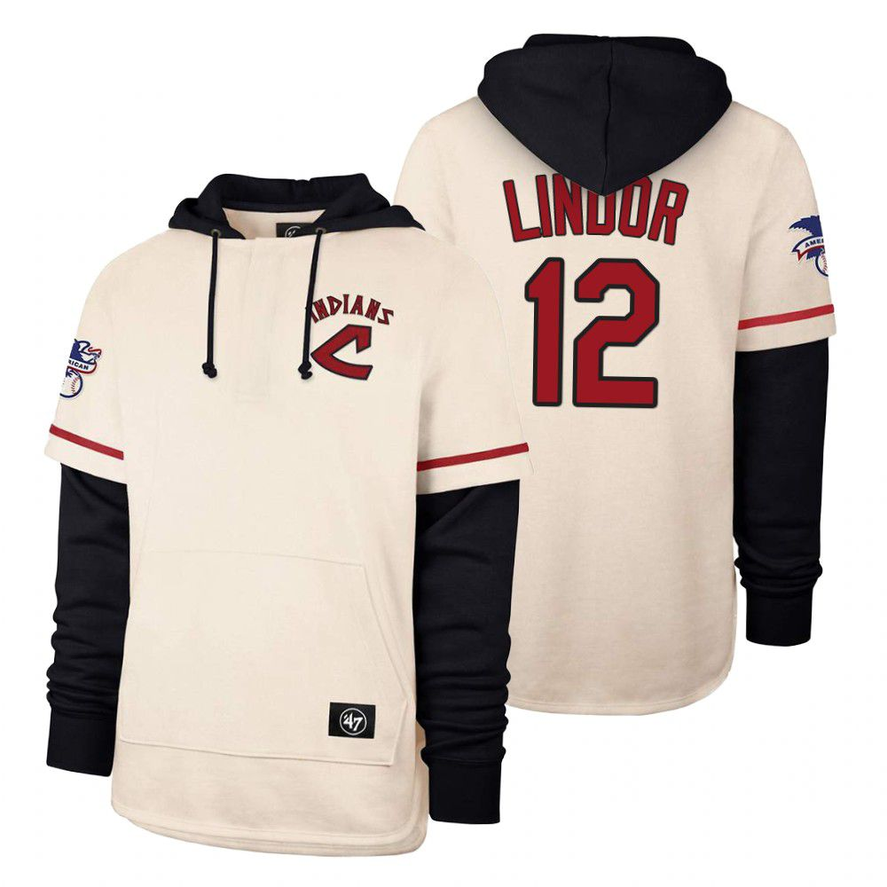 Cheap Men Cleveland Indians 12 Lindor Cream 2021 Pullover Hoodie MLB Jersey