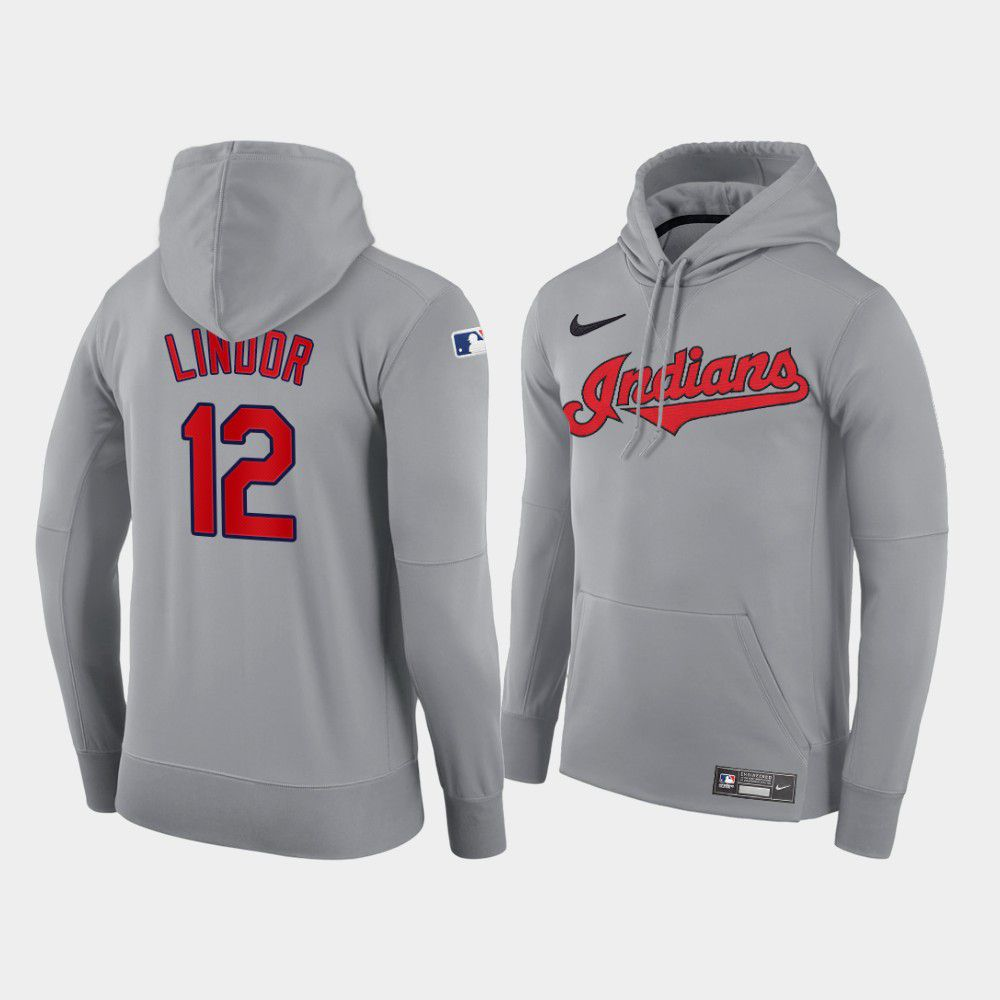 Cheap Men Cleveland Indians 12 Lindor gray road hoodie 2021 MLB Nike Jerseys