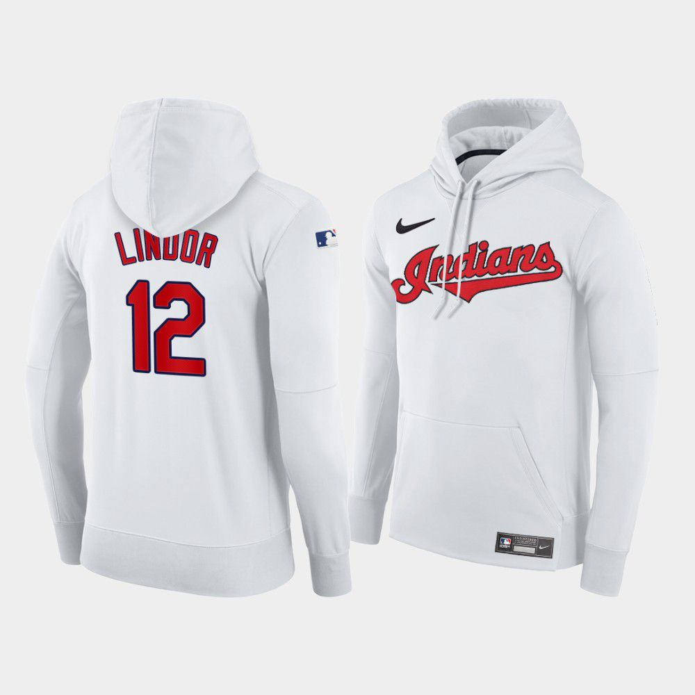 Cheap Men Cleveland Indians 12 Lindor white home hoodie 2021 MLB Nike Jerseys