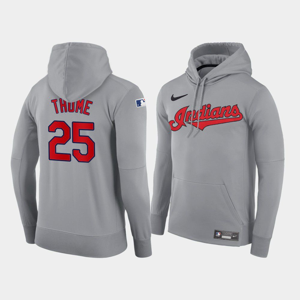 Cheap Men Cleveland Indians 25 Thome gray road hoodie 2021 MLB Nike Jerseys