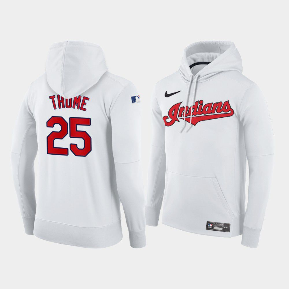 Cheap Men Cleveland Indians 25 Thome white home hoodie 2021 MLB Nike Jerseys