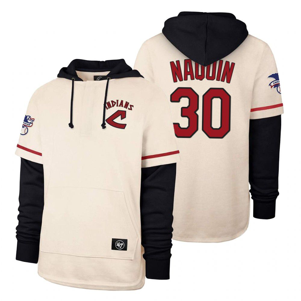 Cheap Men Cleveland Indians 30 Naquin Cream 2021 Pullover Hoodie MLB Jersey