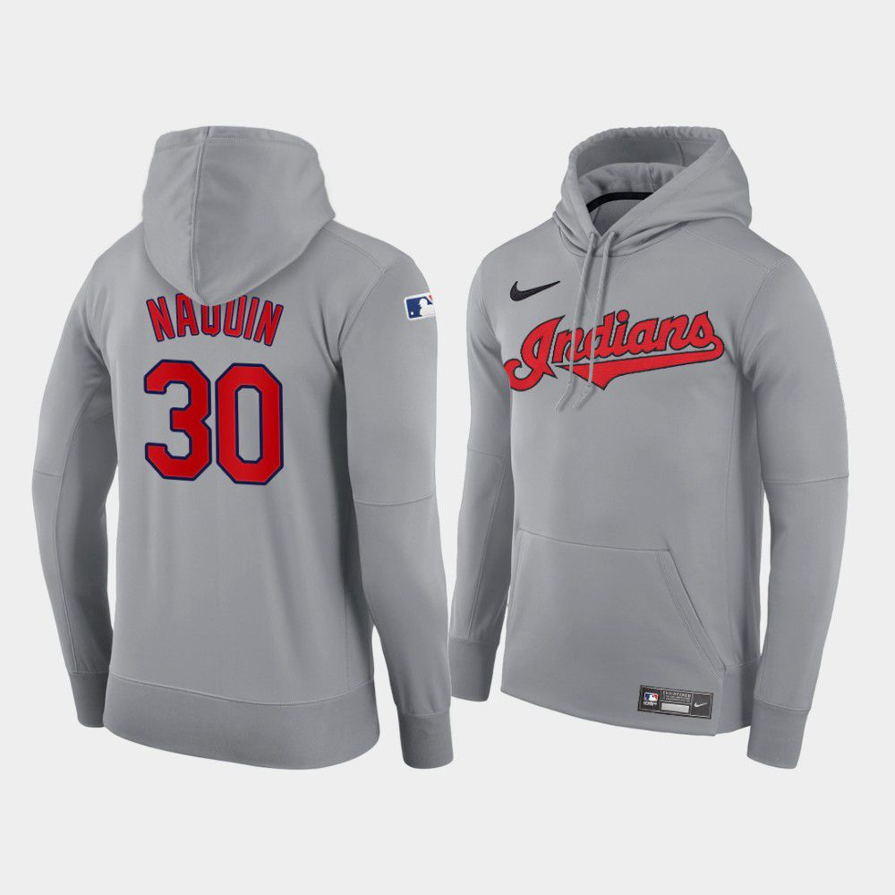 Cheap Men Cleveland Indians 30 Naquin gray road hoodie 2021 MLB Nike Jerseys