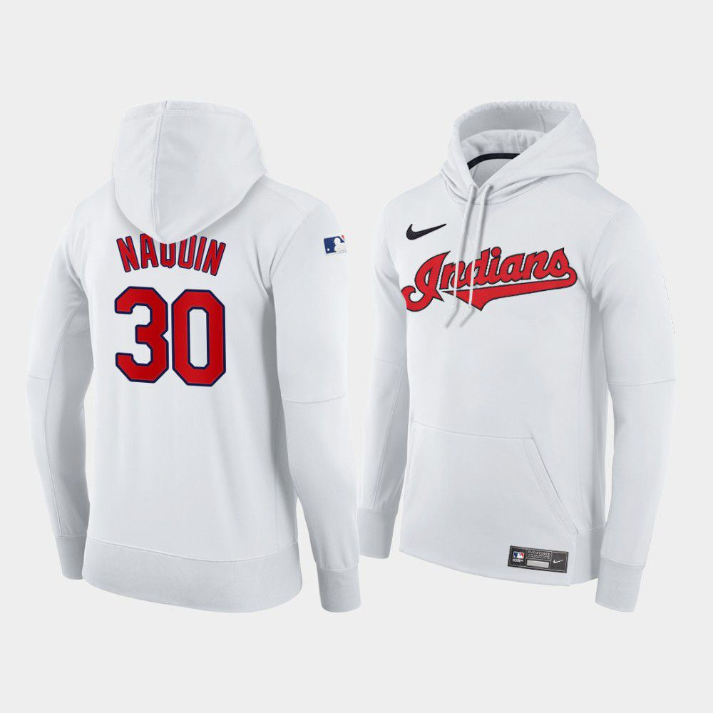 Cheap Men Cleveland Indians 30 Naquin white home hoodie 2021 MLB Nike Jerseys