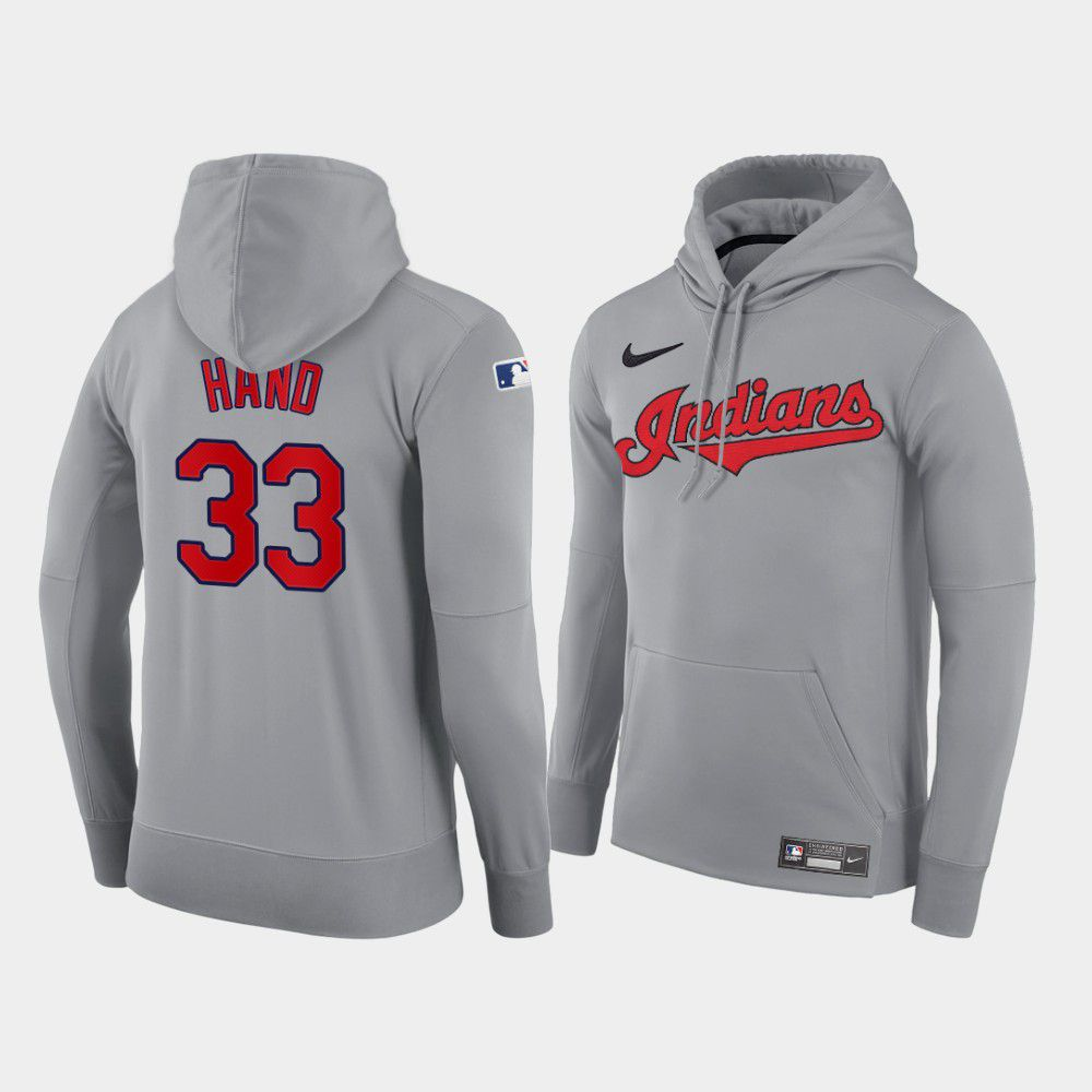 Cheap Men Cleveland Indians 33 Hand gray road hoodie 2021 MLB Nike Jerseys