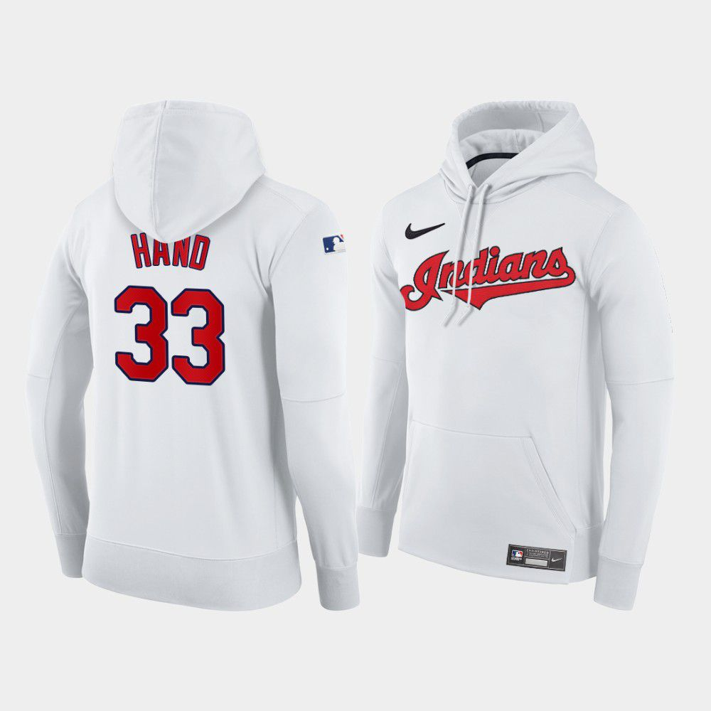 Cheap Men Cleveland Indians 33 Hand white home hoodie 2021 MLB Nike Jerseys