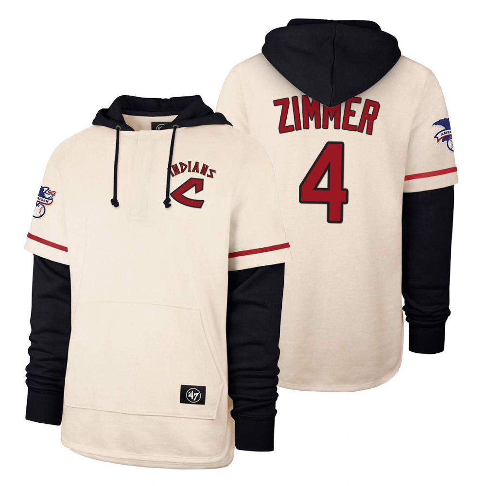 Cheap Men Cleveland Indians 4 Zimmer Cream 2021 Pullover Hoodie MLB Jersey