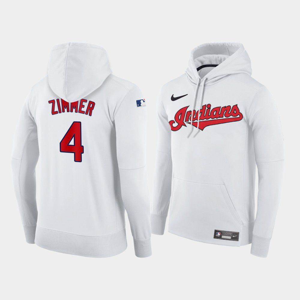 Cheap Men Cleveland Indians 4 Zimmer white home hoodie 2021 MLB Nike Jerseys