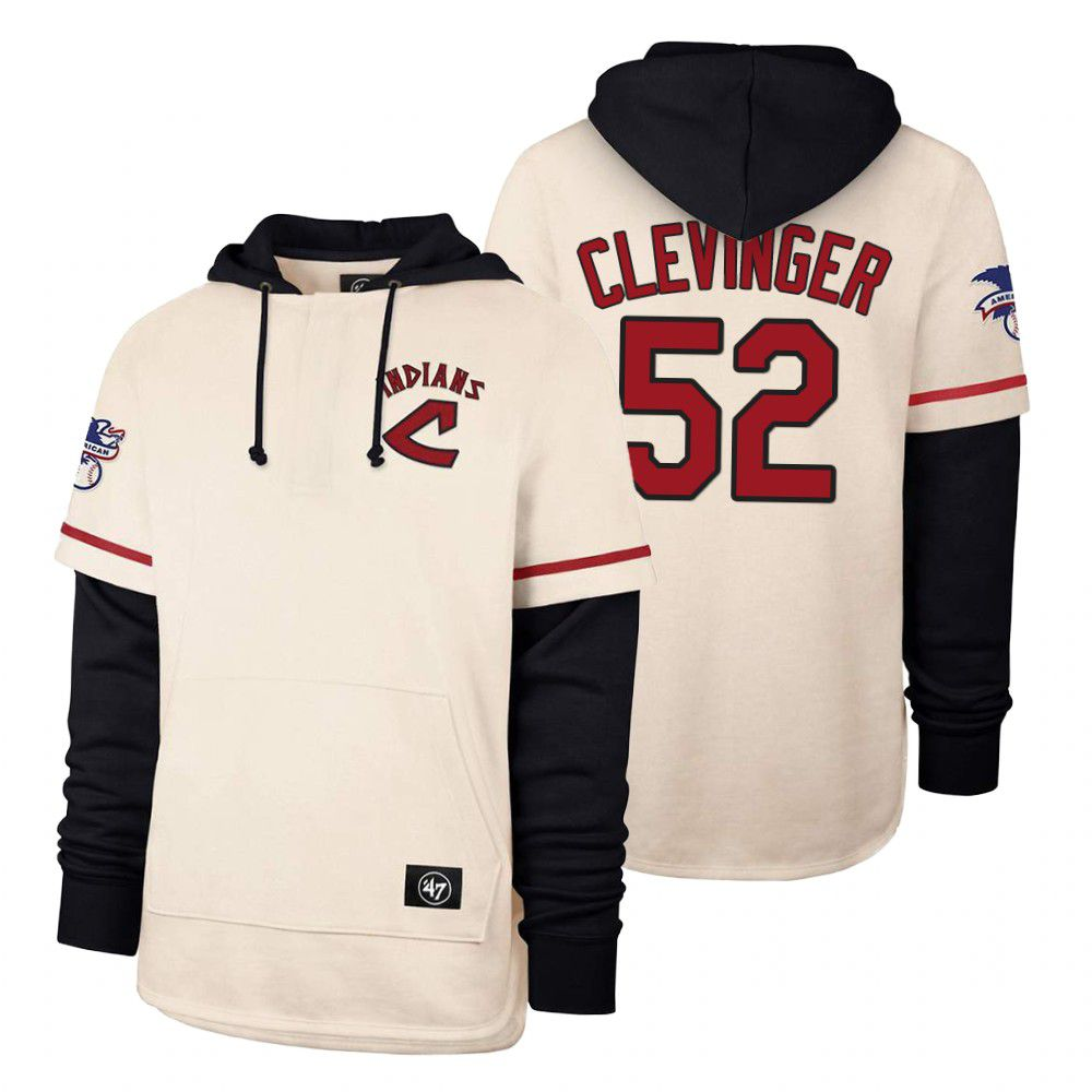 Cheap Men Cleveland Indians 52 Clevinger Cream 2021 Pullover Hoodie MLB Jersey