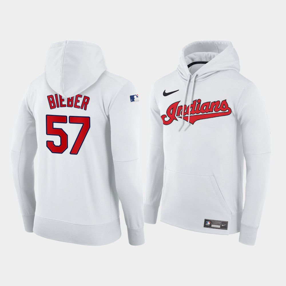 Cheap Men Cleveland Indians 57 Bieber white home hoodie 2021 MLB Nike Jerseys