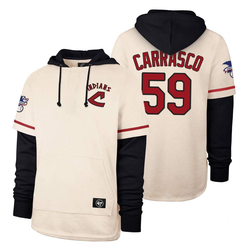 Cheap Men Cleveland Indians 59 Carrasco Cream 2021 Pullover Hoodie MLB Jersey