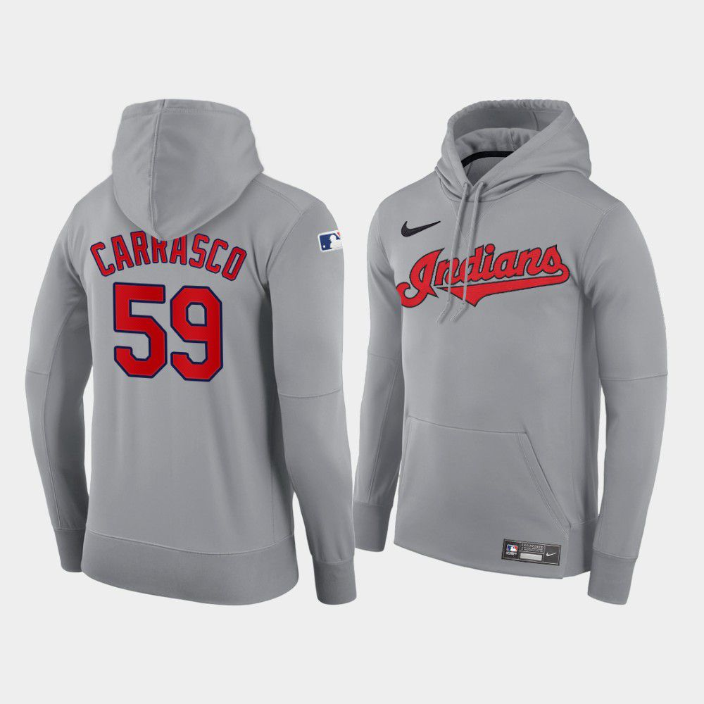 Cheap Men Cleveland Indians 59 Carrasco gray road hoodie 2021 MLB Nike Jerseys