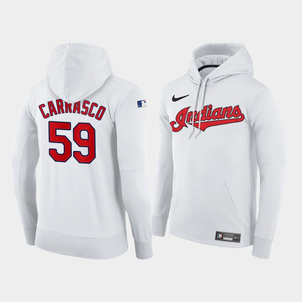 Cheap Men Cleveland Indians 59 Carrasco white home hoodie 2021 MLB Nike Jerseys