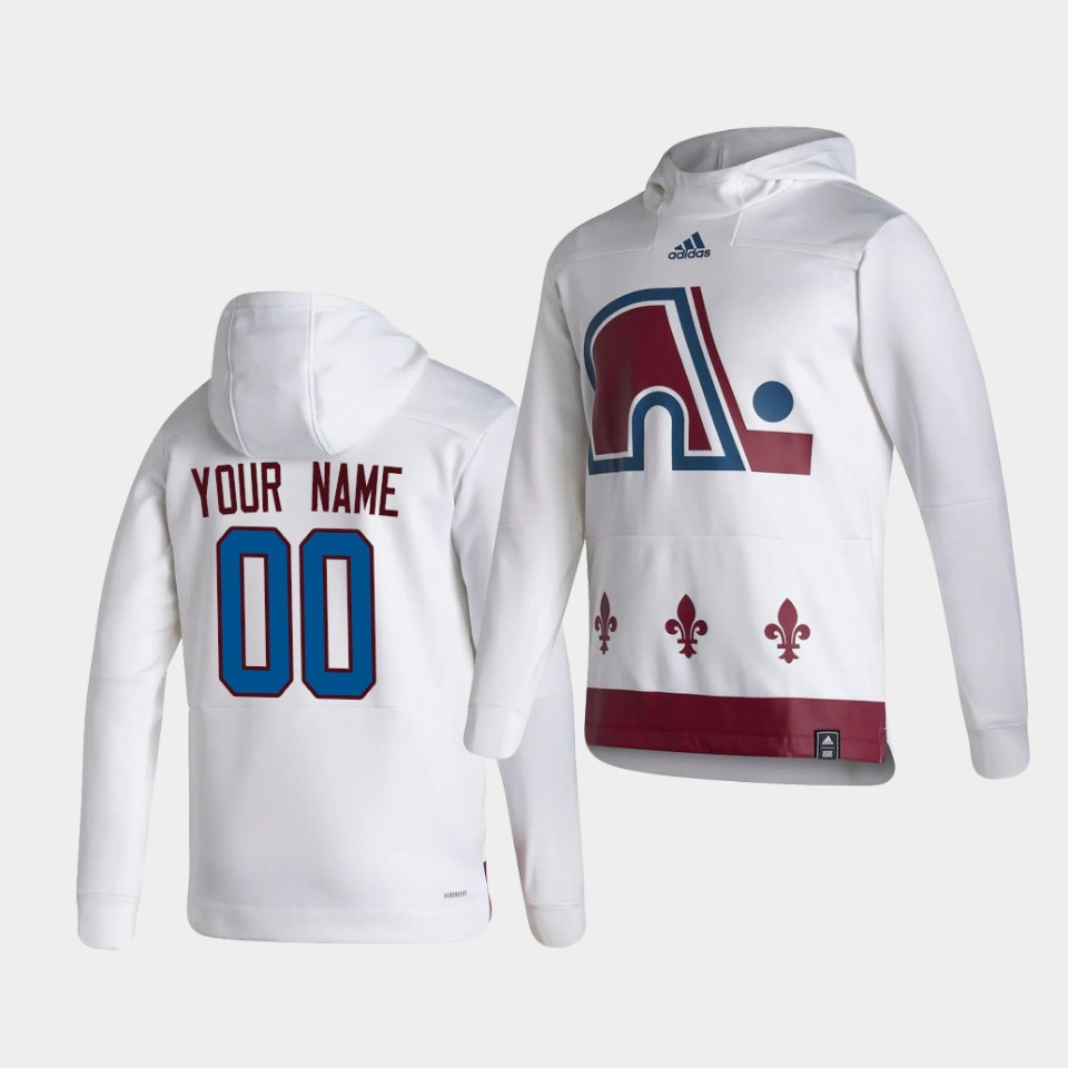 Wholesale Men Colorado Avalanche 00 Your name White NHL 2021 Adidas Pullover Hoodie Jersey