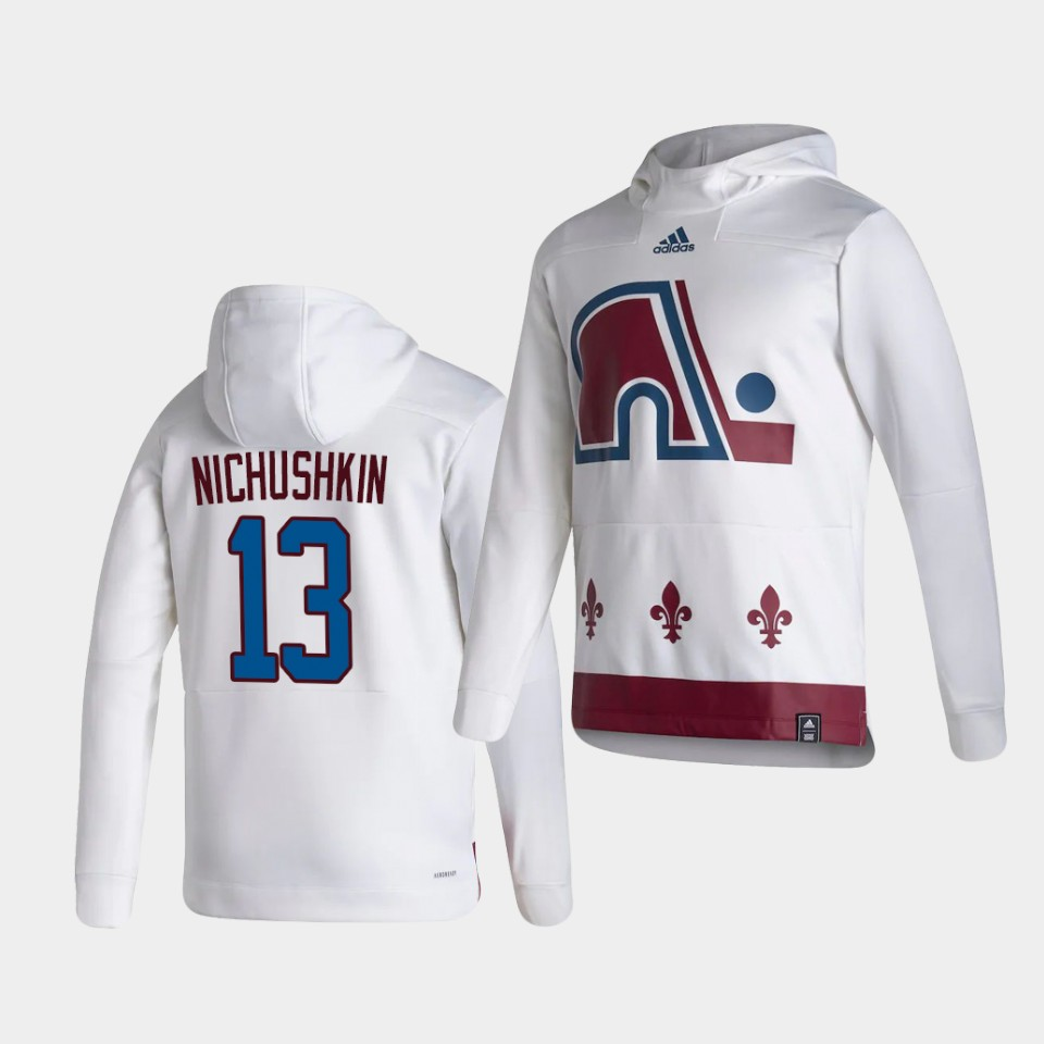 Wholesale Men Colorado Avalanche 13 Nichushkin White NHL 2021 Adidas Pullover Hoodie Jersey