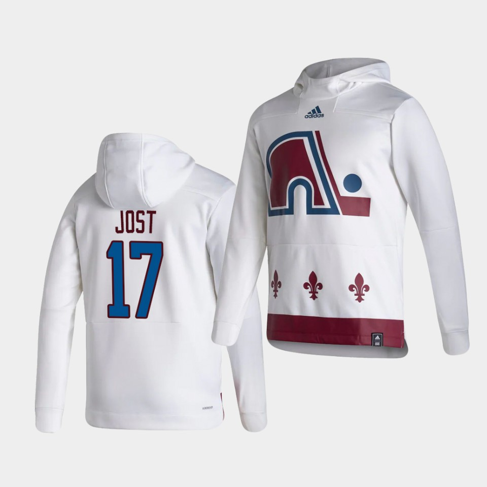 Wholesale Men Colorado Avalanche 17 Jost White NHL 2021 Adidas Pullover Hoodie Jersey