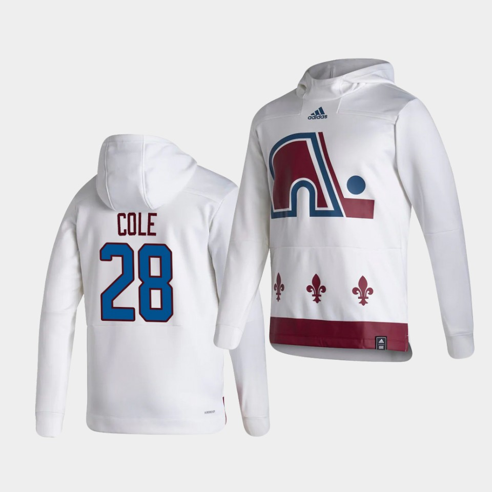 Wholesale Men Colorado Avalanche 28 Cole White NHL 2021 Adidas Pullover Hoodie Jersey
