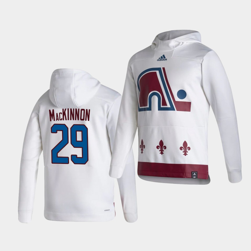 Wholesale Men Colorado Avalanche 29 Mackinnon White NHL 2021 Adidas Pullover Hoodie Jersey