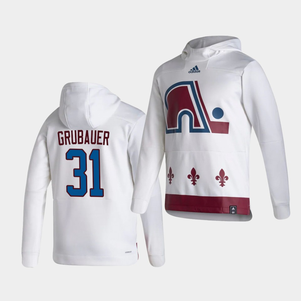 Wholesale Men Colorado Avalanche 31 Grubauer White NHL 2021 Adidas Pullover Hoodie Jersey