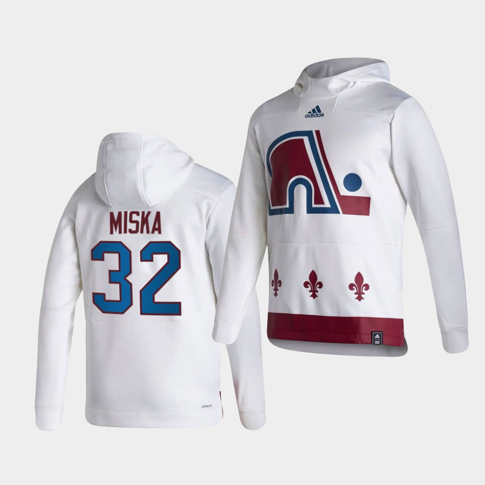 Wholesale Men Colorado Avalanche 32 Miska White NHL 2021 Adidas Pullover Hoodie Jersey