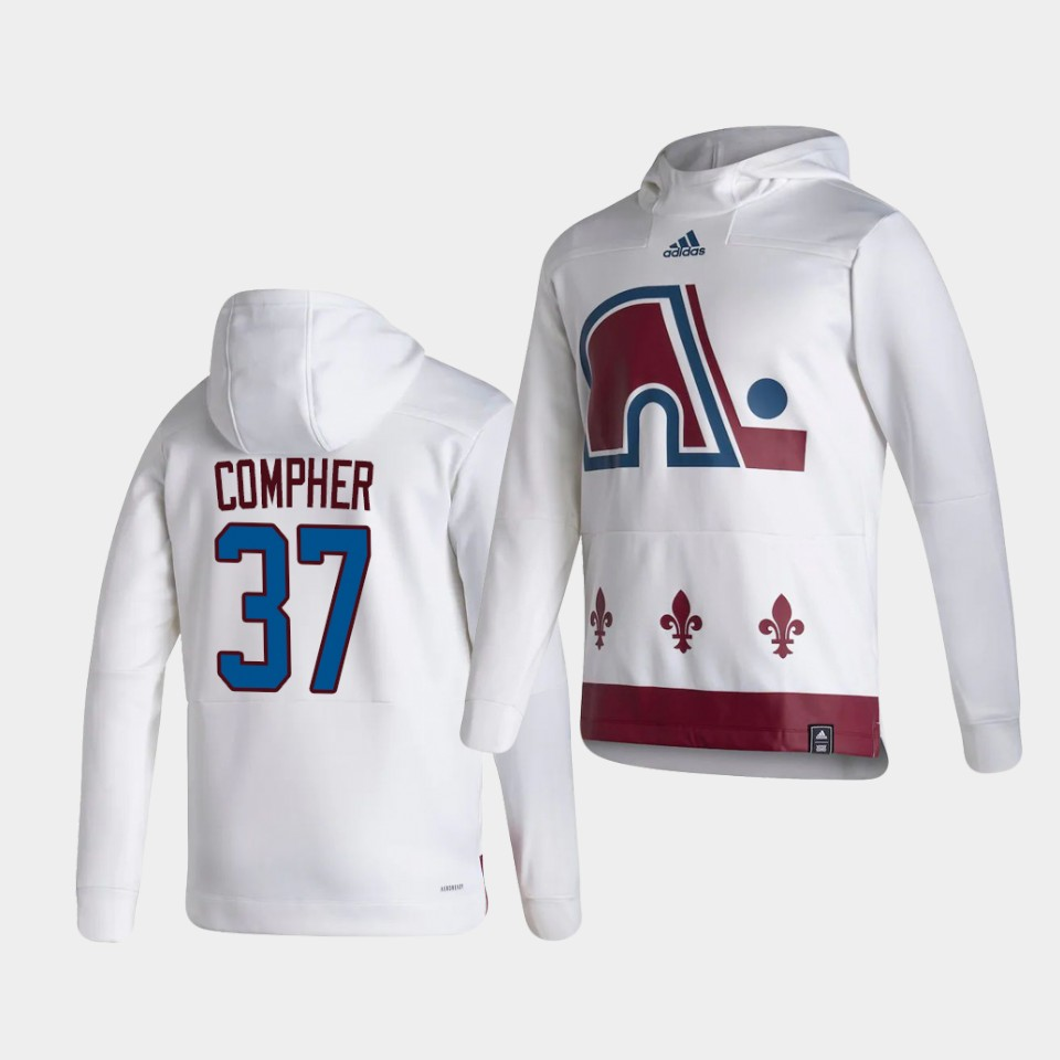 Wholesale Men Colorado Avalanche 37 Compher White NHL 2021 Adidas Pullover Hoodie Jersey