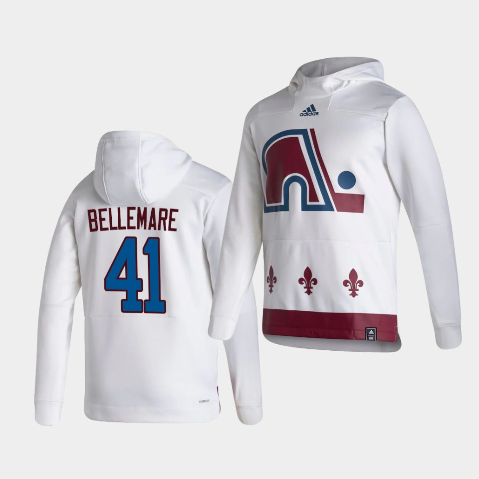 Wholesale Men Colorado Avalanche 41 Bellemare White NHL 2021 Adidas Pullover Hoodie Jersey