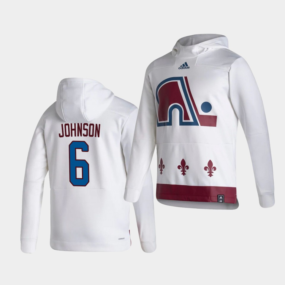 Wholesale Men Colorado Avalanche 6 Johnson White NHL 2021 Adidas Pullover Hoodie Jersey