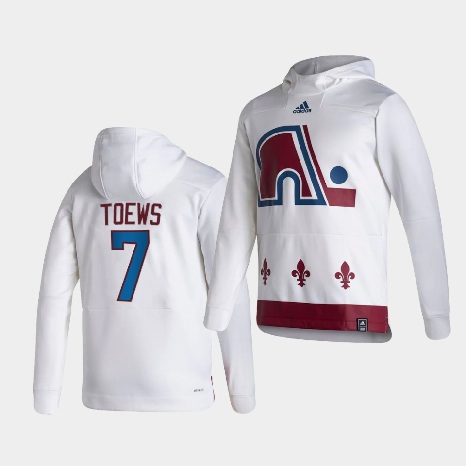Wholesale Men Colorado Avalanche 7 Toews White NHL 2021 Adidas Pullover Hoodie Jersey