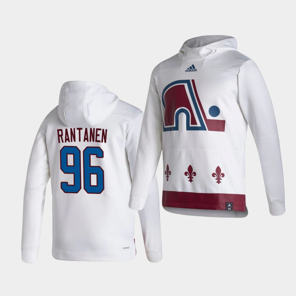 Wholesale Men Colorado Avalanche 96 Rantanen White NHL 2021 Adidas Pullover Hoodie Jersey