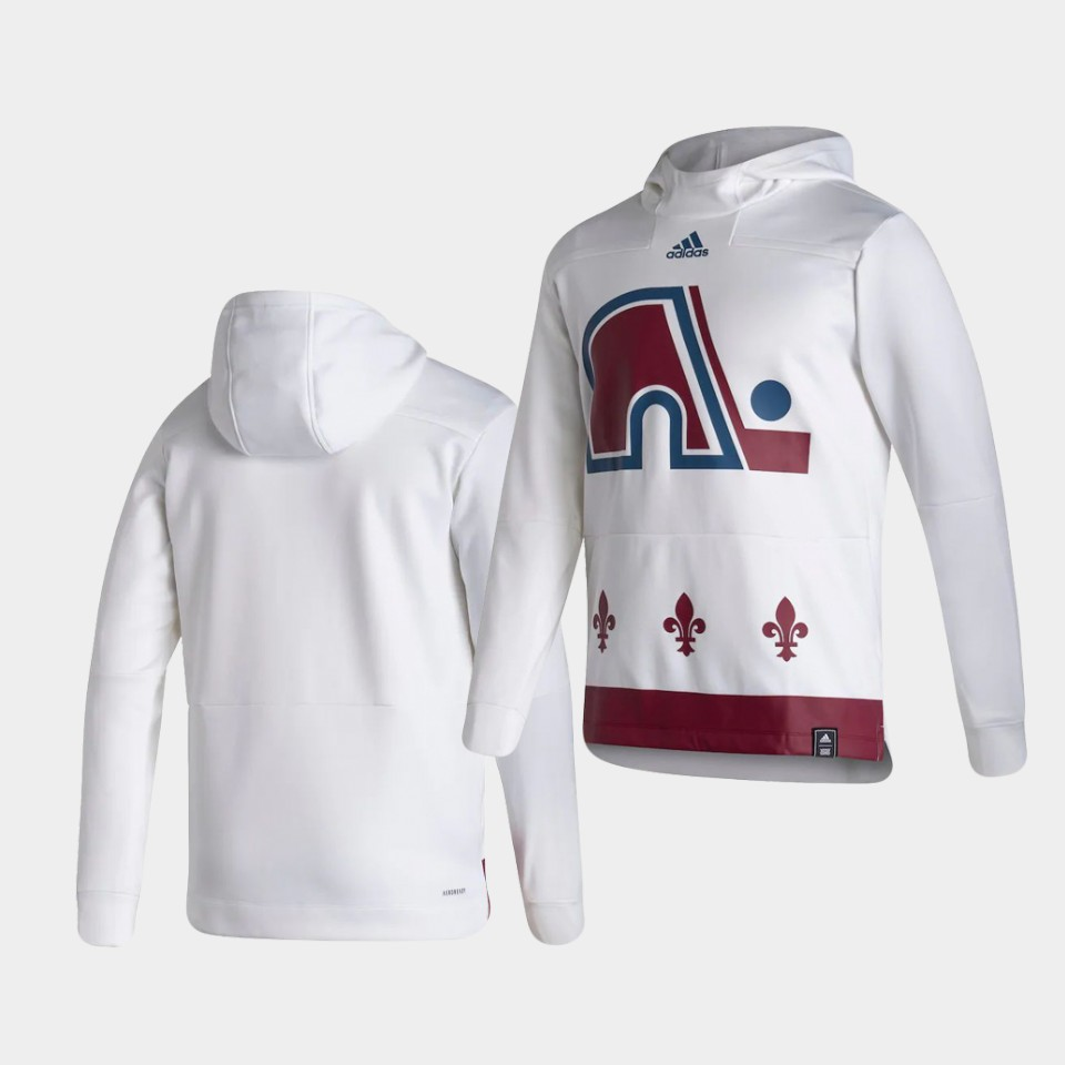 Wholesale Men Colorado Avalanche Blank White NHL 2021 Adidas Pullover Hoodie Jersey