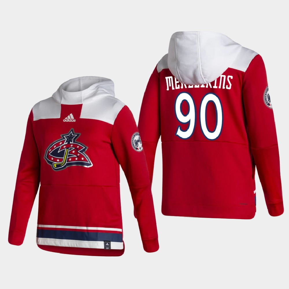Wholesale Men Columbus Blue Jackets 90 Merzlikins Red NHL 2021 Adidas Pullover Hoodie Jersey