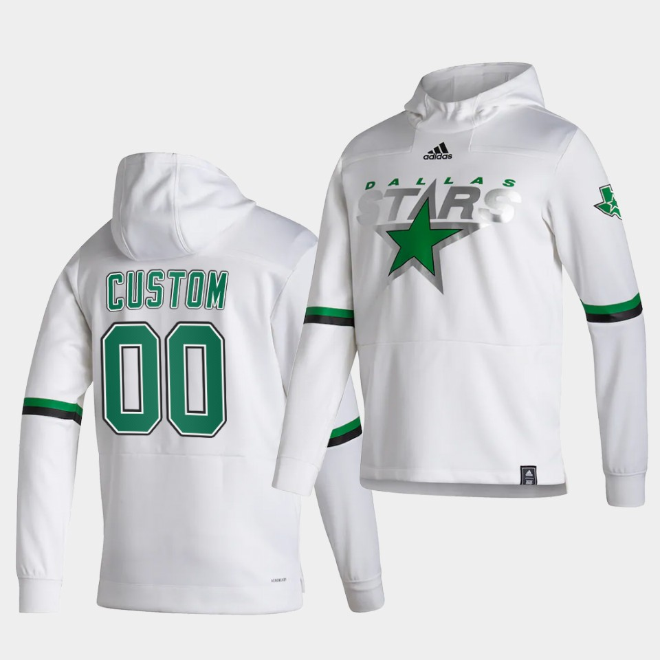 Wholesale Men Dallas Stars 00 Custom White NHL 2021 Adidas Pullover Hoodie Jersey