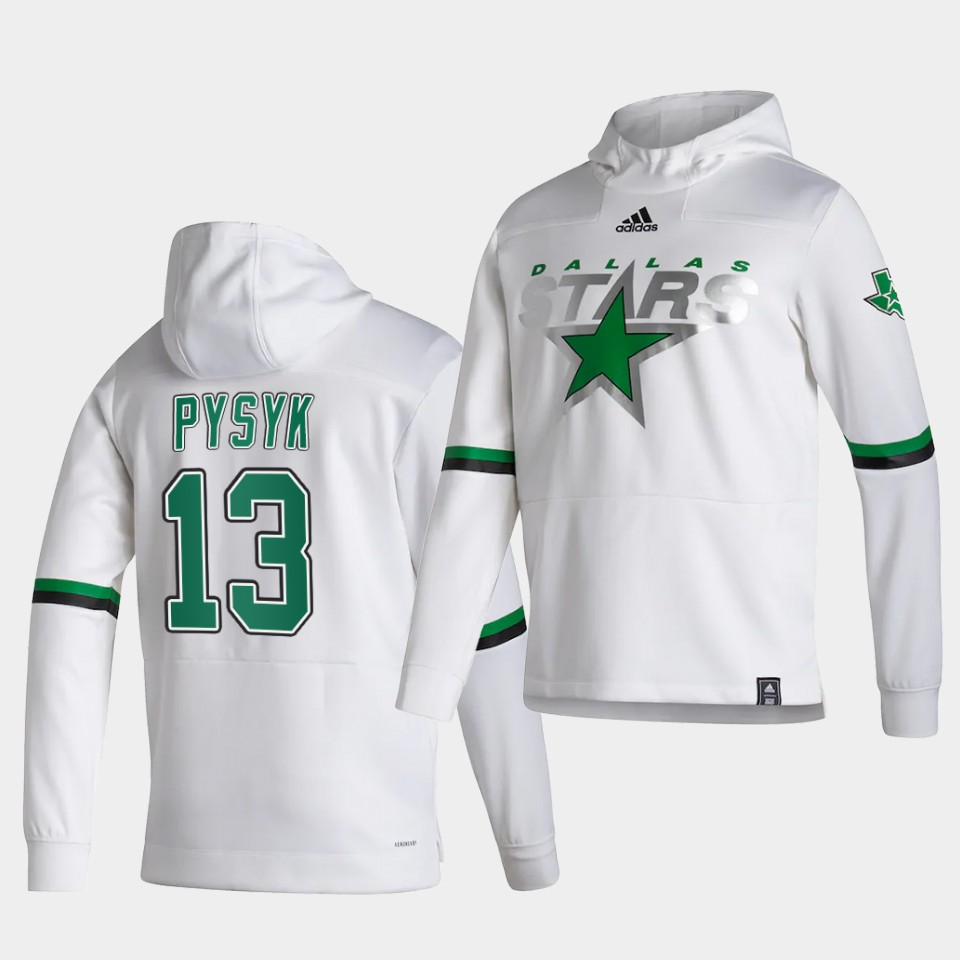 Wholesale Men Dallas Stars 13 Pysyk White NHL 2021 Adidas Pullover Hoodie Jersey
