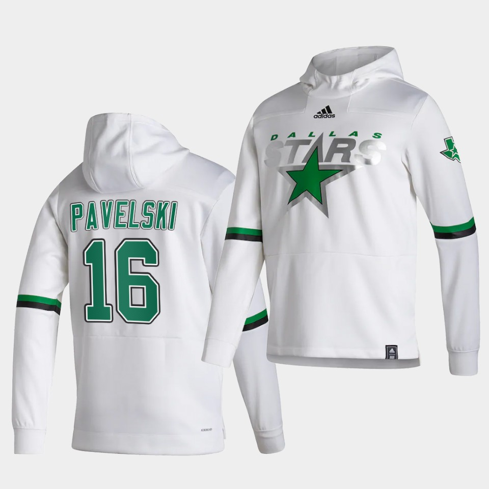 Wholesale Men Dallas Stars 16 Pavelski White NHL 2021 Adidas Pullover Hoodie Jersey