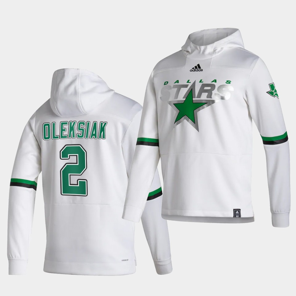 Wholesale Men Dallas Stars 2 Oleksiak White NHL 2021 Adidas Pullover Hoodie Jersey