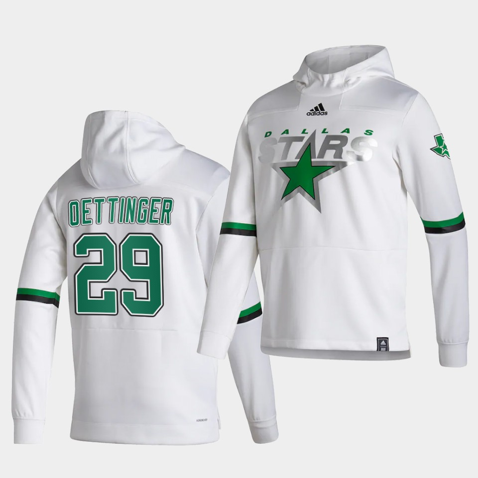 Wholesale Men Dallas Stars 29 Oettinger White NHL 2021 Adidas Pullover Hoodie Jersey