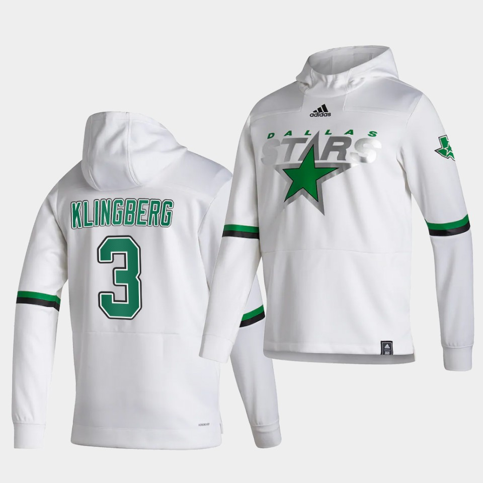 Wholesale Men Dallas Stars 3 Klingberg White NHL 2021 Adidas Pullover Hoodie Jersey