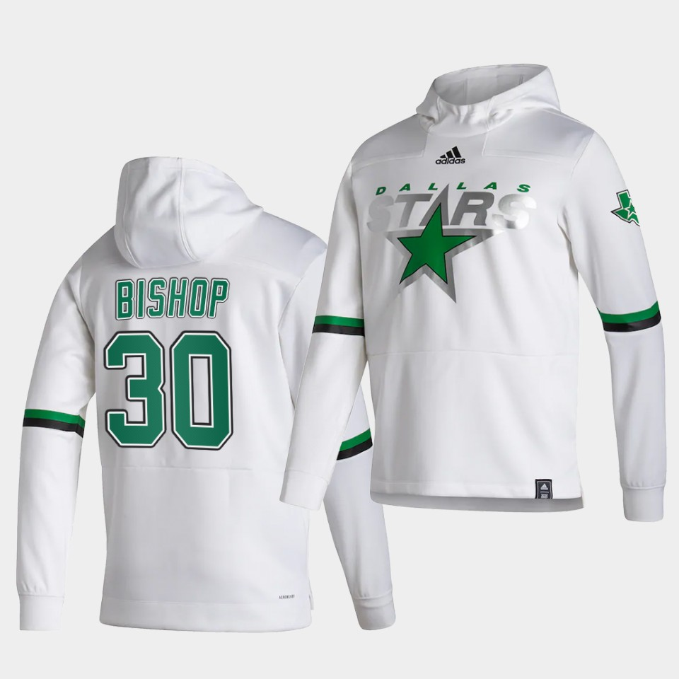 Wholesale Men Dallas Stars 30 Bishop White NHL 2021 Adidas Pullover Hoodie Jersey