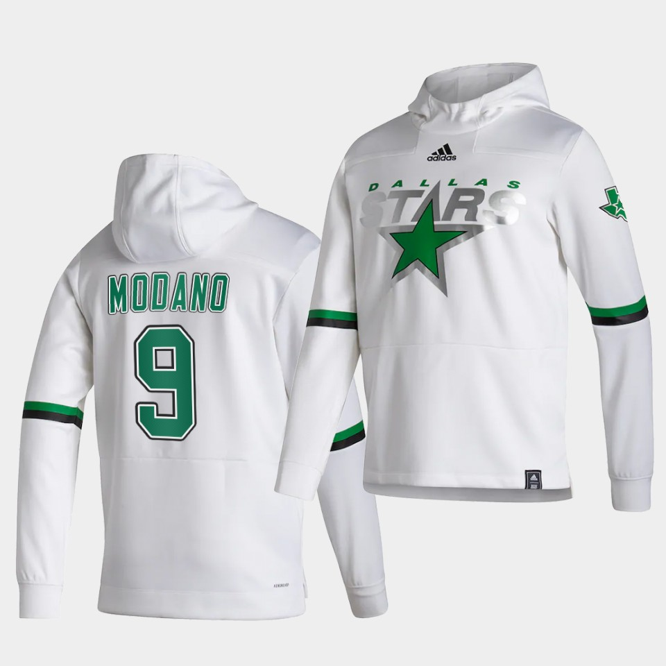 Wholesale Men Dallas Stars 9 Modano White NHL 2021 Adidas Pullover Hoodie Jersey