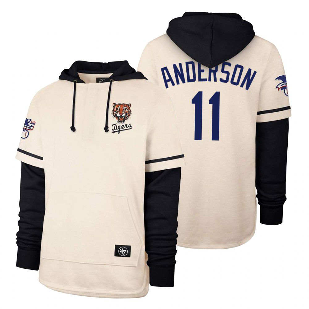 Cheap Men Detroit Tigers 11 Anderson Cream 2021 Pullover Hoodie MLB Jersey