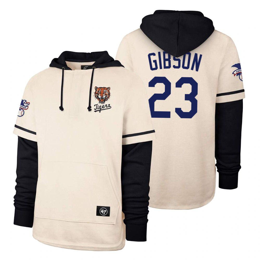 Cheap Men Detroit Tigers 23 Gibson Cream 2021 Pullover Hoodie MLB Jersey