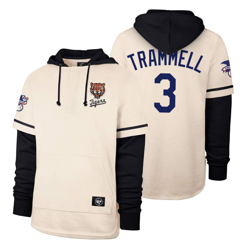 Cheap Men Detroit Tigers 3 Trammell Cream 2021 Pullover Hoodie MLB Jersey