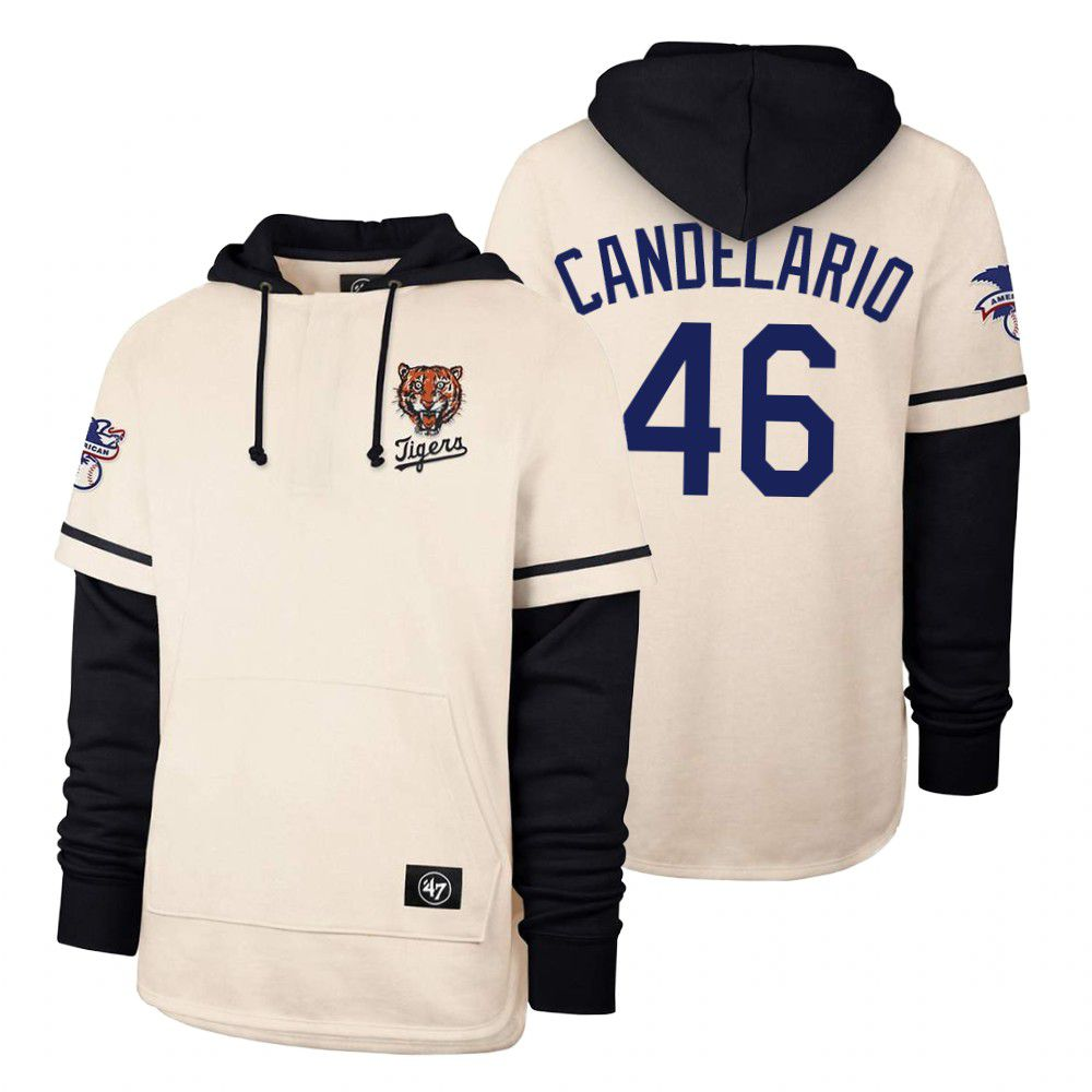 Cheap Men Detroit Tigers 46 Candelario Cream 2021 Pullover Hoodie MLB Jersey