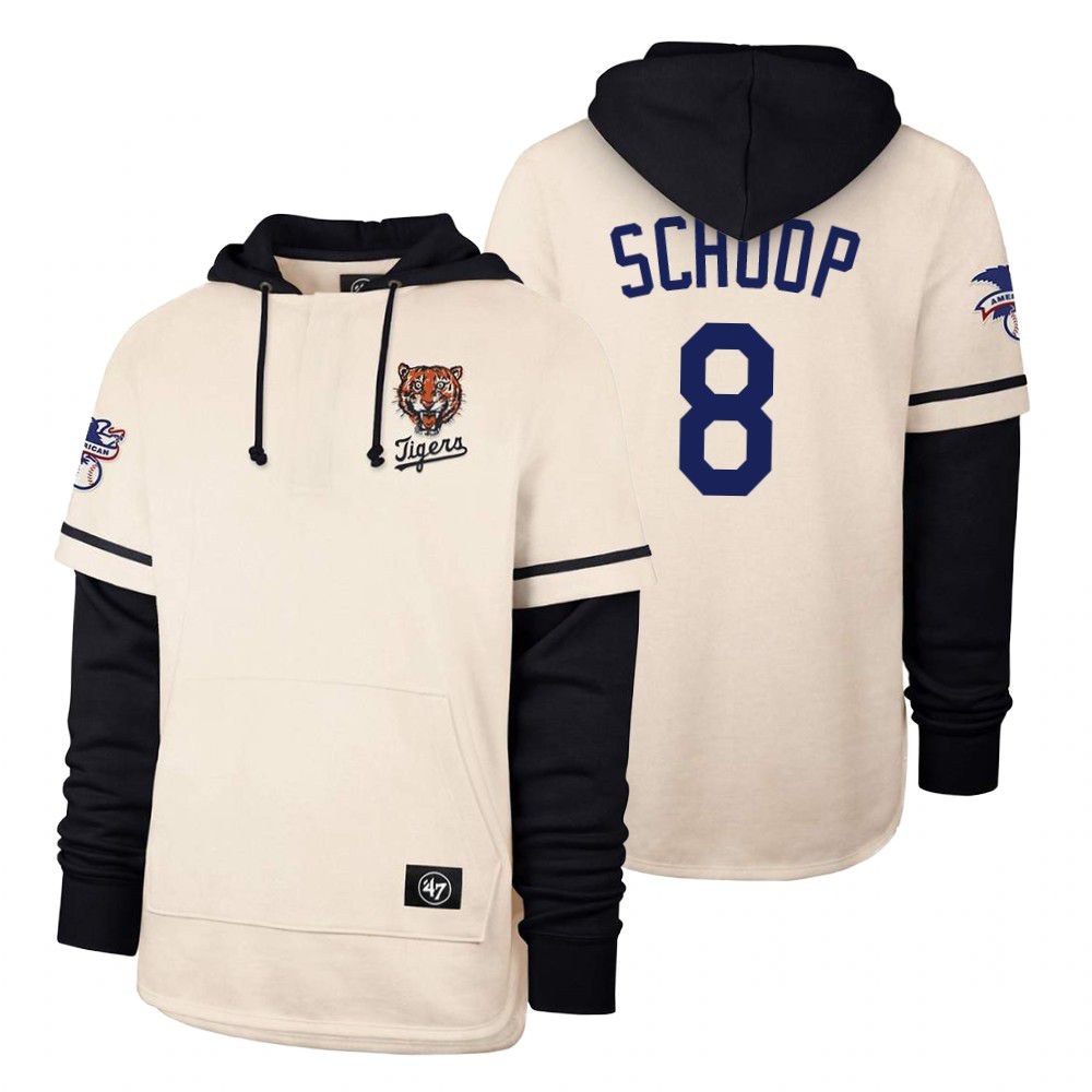 Cheap Men Detroit Tigers 8 Schoop Cream 2021 Pullover Hoodie MLB Jersey