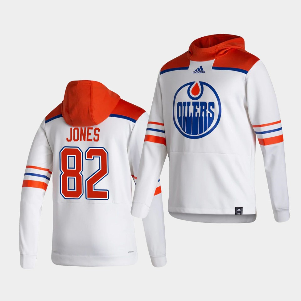 Cheap Men Edmonton Oilers 82 Jones White NHL 2021 Adidas Pullover Hoodie Jersey